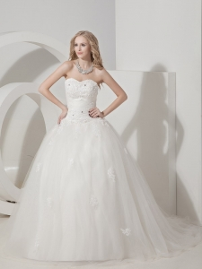 Tulle Appliques Bridal Gown Ball Gown Sweetheart Court Train