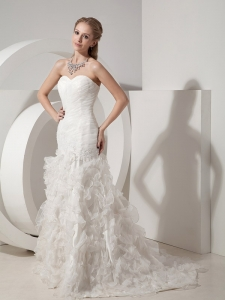 Organza Bridal Gown Mermaid Ruched Ruffles Court Train