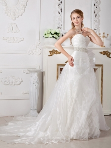 Sweetheart Wedding Dress Court Train Organza Beading A-line