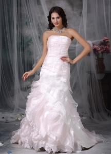 Mermaid Wedding Dress Strapless Brush Train Organza Layers