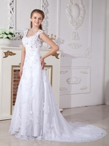 Scoop Straps Wedding Gown Court Train A-line Lace Appliques