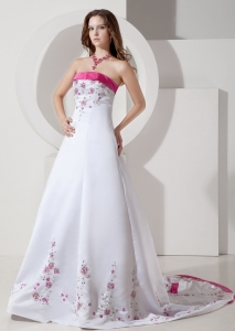 White Satin Wedding Dress with Rose Pink Pertty Embroidery