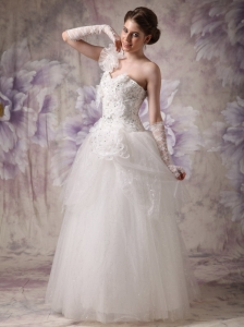 One Shoulder Floor-length Organza Beading Bridal Dress