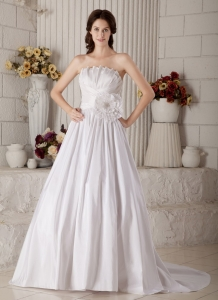 Hand Made Flower Wedding Bridal Dress Pretty Strapless Neckline
