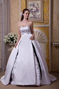 A-line Strapless Wedding Dress Satin Chapel Train Embroidery