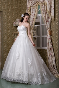 Taffeta Lace Bridal Wedding Dress A-line Sweetheart Brush Train