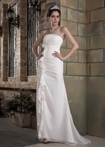 Ruched Wedding Gown Strapless Brush Train Chiffon Column