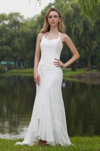 High-low Bridal Dress Halter Mermaid Chiffon Embroidery