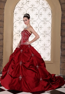 Wine Red Wedding Gown Embroidery Pick-ups Strapless Taffeta