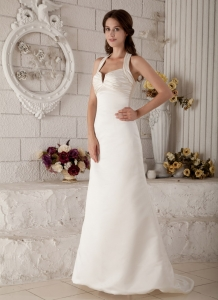 Elegant V-neck Halter Brush Train Satin Ruch Wedding Dress