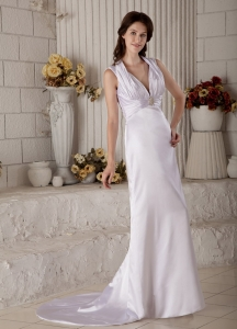 Halter V-neck Brush Train Satin Ruch Beading Wedding Dress