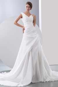V-neck Wedding Dress Chapel Train Appliques Beading Straps