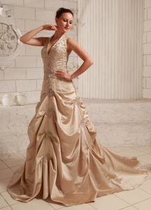 Champagne Bridal Dress Appliques Beading Court Train Halter
