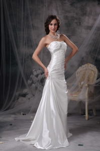 Ivory Mermaid Sweetheart Wedding Dress Beading and Ruch