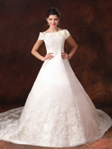 Cathedral Train Bridal Gown Lace Off the Shoulder Appliques