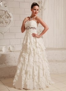 Lace Over Skirt Chiffon Ruffled Pretty A-line Wedding Dress