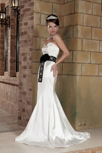 White Bridal Dress Black Beaded Waistband Sweetheart Brush Train