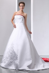 A-line Wedding Dress Strapless Satin Beading Embroidery