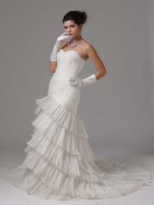 Ruffled Layers Bridal Wedding Gown Sweetheart Mermaid Ruch