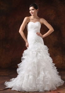 Wedding Dress With Beading Ruched Ruffled layers Mermaid