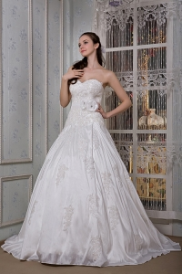Handle Flower Bridal Dress A-line Sweetheart Taffeta Appliques