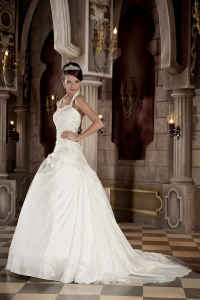 Halter Court Train Taffeta Appliques Beading Wedding Gowns