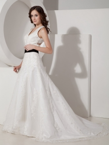 Halter V-neck Court Train Lace Appliques Satin Wedding Dress