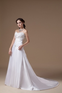 Sweetheart Bridal Dress Court Train Satin Pretty Embroidery