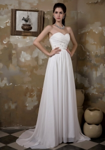 Beading Ruched Wedding Dress Sweetheart Brush Train Chiffon