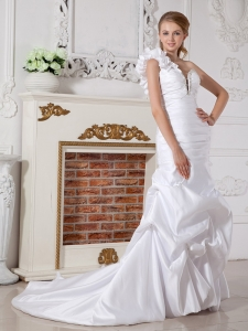 One Shoulder Bridal Dress Mermaid Court Train Taffeta Beading
