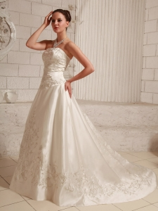 A-line Wedding Bridal Dress Embroidery Court Train Strapless