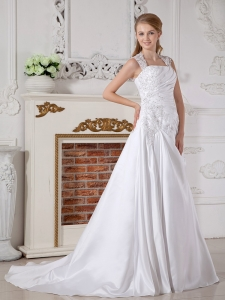 Taffeta Appliques Bridal Wedding Dress A-line Square Court Train