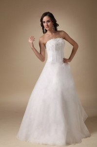 Appliques Wedding Dress A-line Floor-length Satin and Organza
