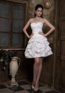 Pick-ups Bridal Gown A-line Mini-length Taffeta Ruch Sweetheart