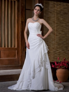 Chiffon Sweetheart Bridal Wedding Dress Column Court Train