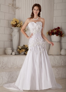 Court Train Wedding Gown Taffeta Hand Made Flowers Beading