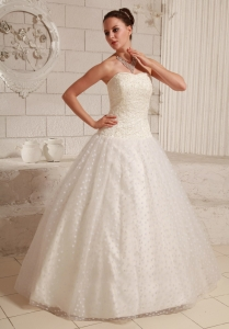 Appliques Dotted Tulle Fabric Over Skirt Taffeta Wedding Gowns