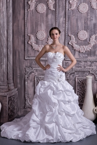 Princess Wedding Gown Taffeta Strapless Court Train Beading