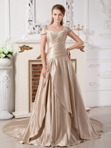 Champagne Off the Shoulder Bridal Dress Court Train Appliques