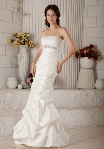 Mermaid Strapless Brush Train Beading Ruched Wedding Dress