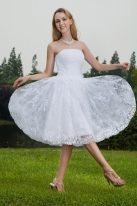 Chiffon and Lace Bridal Dress Ruched Princess Knee-length