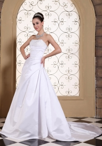 Princess Bridal Wedding Dress Court Train Sequins Strapless