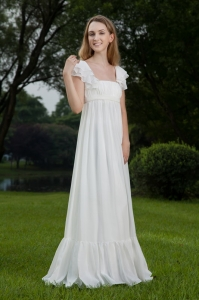 Chiffon Ruched Wedding Dress Empire Square Floor-length White