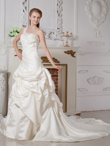 Taffeta Bridal Dress A-line One Shoulder Appliques Court Train