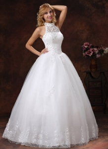 High Neck Halter Ball Gown Wedding Dress Appliques Beading