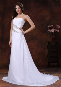 Beaded Outdoor Wedding Dress Appliques Ruching Train