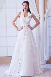 Rhinestones Square Lace Wedding Dresses Beaded Train