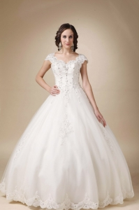 Cap Sleeves Wedding Dress Ball Gown Beading Floor-length Tulle