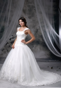 Appliques Ball Gowns Square Chapel Train Wedding Dress