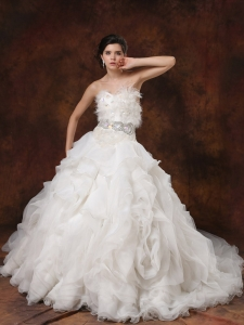 Ball Gown Bridal Dress Beaded Feather Ruffles Chapel Train
